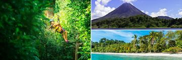 Ziplining, Arenal Volcano and Manuel Antonio beach
