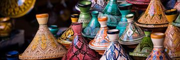 Moroccan tagines in Marrakech souk