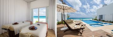 Oleo Cancun Playa Boutique Resort, Nuup Spa Treatment Room and Nuup Spa Infinity Pool and Sun Loungers