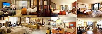 One&Only Cape Town, Table Mountain Suite Bedroom, Two Bedroom Suite Bedroom, Marina Suite Bedroom and Living Room, Two Bedroom Suite Living Room and Table Mountain Suite Living Room