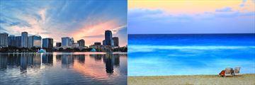 Orlando Skyline & Cancun Beachfront
