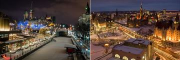 Ottawa Winterlude City Break, Christmas Lights at Rideau Canal and Aerial View of Ottawa at Night
