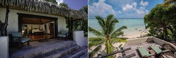 Ultimate Beachfront Suite Exterior and Ultimate Beachfront Villa Deck at Pacific Resort Aitutaki