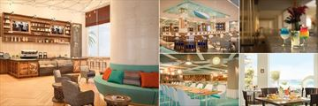 Coffee Bar, Lobby Bar, Las Olas Bar, Ventanas and Deck 74 at Panama Jack Gran Caribe Resort