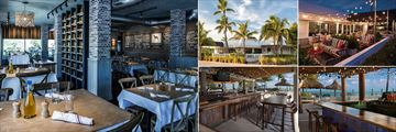 Postcard Inn Beach Resort & Marina, (clockwise from left): Ciao Hound Interior, Exterior and Terrace and the Tiki Bar