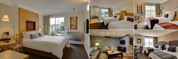 Protea Hotel Knysna Quays, (clockwise from left): Poolside King Room, Garden Facing Double Double Room, Lagoon View Double Double Room, Executive Three Bedroom - Bedroom One and Living Room