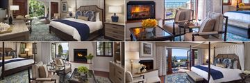 The Ritz-Carlton Bacara, Santa Barbara, (clockwise from top left): Deluxe King, Terrace Suite, Oceanview Room and Partial Oceanview Room