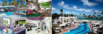 Riu Palace Bavaro, (clockwise from top left): Swim-Up Bar, Sports Bar, Villa Guests Pool, Fitness Room and Spa Plunge Pool