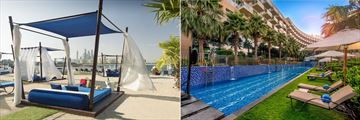 Beach cabanas and semi Olympic lap pool at Rixos The Palm Dubai Hotel & Suites