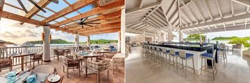 Split images. On the right is the terrace at Grazie and the right in Martini Mix at Royalton Antigua