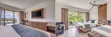 The interiors of the Luxury Junior Suites with bay views or mountain views at Royalton Antigua