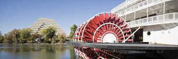 Paddleboat sailing along Sacramento's river