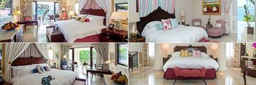 Sandy Lane, (clockwise from top left): Luxury Dolphin Suite, Sandy Lane Master Suite, The Villa and Luxury Orchid Suite