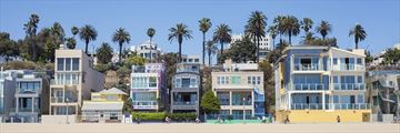 Beautiful beach houses lining Santa Monica's coast