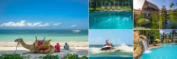 Sarova Whitesands Beach Resort & Spa, (clockwise from left): Beach, Silent Pool, Ponds, Main Pool and Jetskis