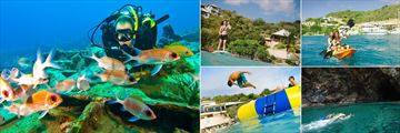 Scuba Diving, Paddle Boarding, Kayaking, Cave Snorkeling and Inflatable Trampoline at Scrub Island