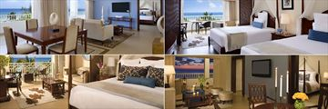 Secrets St James Montego Bay, (clockwise from top left): Preferred Club Presidential Suite, Preferred Club Junior Suite Ocean View and Master Suite and Junior Suite