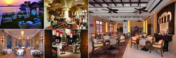 Shangri-La Qaryat al Beri, (clockwise from top left): Ess Lounge, Sofra Bld Dining Area, Hoi An, Shang Palace and Bord Eau