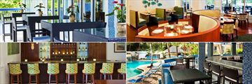 Sheraton Suites Key West, (clockwise from top left): Al Fresco Dining, Coral Crab Cafe, Cabana Bar and Interior Bar
