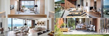 Clockwise from top left: Ocean View Room, One Bedroom Suite, Garden View Room and Penthouse Suite at Silversands Grenada