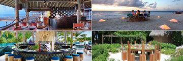 Six Senses Laamu, (clockwise from top left): Zen Restaurant, Sandbank Dining, The Chili Table at Leaf Restaurant and Sip Sip Restaurant