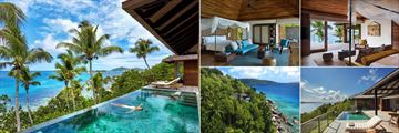 Six Senses Zil Payson, (clockwise from left): Two Bedroom Pool Villa, Pool Villa Bedroom, Two Bedroom Pool Villa Bedroom, Panorama Pool Villa Ocean and Front Pool Villa