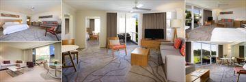 Sofitel Noosa Pacific Resort, (clockwise from top left): Superior Room Village View, Opera Suite, Superior Room Pool View, Junior Suite and Luxury Room