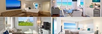 Sonesta Fort Lauderdale, (clockwise from top left): Junior Suite, Master Ocean King Suite, Deluxe Ocean Curve Double and Junior King Suite