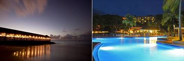 St. James's Club Morgan Bay, Morgan's Pier Restaurant and Sunset Bar & Lounge and Pool at Night