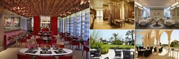 St. Regis - Doha, (clockwise from left): Astor Grill Restaurant, Al-Sultan Brahim, Gordon Ramsay Mediterranean, Opal By Gordan Ramsay and Oyster Bay Bar & Terrace