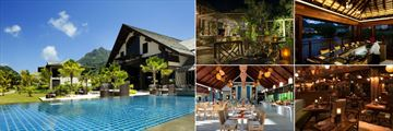 The H Resort Beau Vallon Beach, (clockwise from left): 1502 Restaurant & Bar, Eden Restaurant, Seyshima Restaurant, Trader Vic's Seychelles and Vascos Restaurant