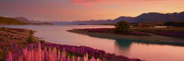 Stunning Lake Tekapo scenery at sunset, New Zealand