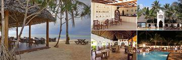 Sultan Sands, (clockwise from left): Kivuli Restaurant, Casablanca Restaurant Interior and Exterior and Mwambao Restaurant Exterior and Interior
