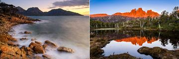 Sunset at Coles Bay (left), and Mount Geryon at Cradle Mountain (right)