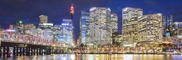 Sydney skyline and Pyrmont Bridge