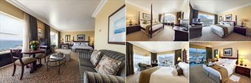 Table Bay at the Waterfront, (clockwise from left): Superior Luxury Family Room, Signal Hill Suite, Junior Suite Mountain View, Honeymoon Junior Suite and Junior Suite