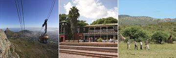 Table Mountain cable car, Rovos Rail station building & Madikwe walking safari
