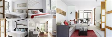 The Byron at Byron Bay, (clockwise from top left): Standard Bedroom, Deluxe Room, Deluxe Living Room, Superior Room and Premium Suite