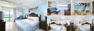 The Club Barbados Resort & Spa, (clockwise from left): One Bedroom Oceanfront Suite Bedroom, Seating Area and Balcony, Ocean Loft and Superior Oceanfront Room