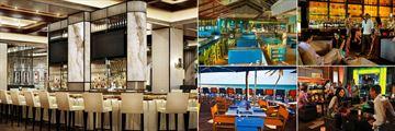 The Cove Atlantis, (clockwise from left): Platos Bar, Frankie Goes Bananas Restaurant, Bar, Nobu Bar and Sip Sip Restaurant