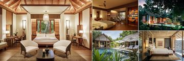 The Datai Langkawi, (clockwise from left): Rainforest Villa, Canopy Deluxe Villa, Rainforest Pool Villa, Beach Villa One Bedroom and Beach Villa Two Bedrooms