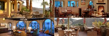 Clockwise from top left: Front Patio, Dining Room, Back Patio and The Lounge at The Inn at Death Valley