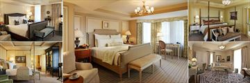 The Jefferson, (clockwise from top left): Premier Room, Deluxe Room, Executive Suite, The Martha Jefferson Suite and The Thomas Jefferson Suite