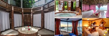 The Jewel Dunn's River Resort, (clockwise from left): Radiant Spa Steam Room, Spa Whirlpool, Seashore Massage, Spa Couples Massage and Private Beach Cabanas