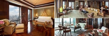 The Peninsula Bangkok, (clockwise from left): Thai Suite, Duplex Suite and Peninsula Suite