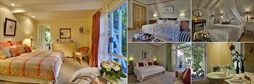 The Peppertree, (clockwise from left): The Sunset Suite, The Venetian Suite, The Dormer Suite, The Garden Suite Bathroom and Bedroom