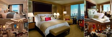The Ritz-Carlton Toronto, (clockwise from top left): Simcoe Suite, Luxury Deluxe Room, One Bedroom Corner Suite, The Ritz-Carlton Suite Living Room and Wellington Suite Living Room