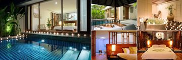 The Sarojin, Khao Lak, (clockwise from left): Pool Residence, Bathroom, Garden Residence and Two Bedroom Pool Residence