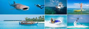 The Sun Siyam Iru Fushi, (clockwise from top left): Diving, Snorkeling and Diving Boat Trips, Paddleboarding, Flyboarding, Jetski and Boat Excursions