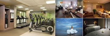 The Westin Hilton Head Island Resort & Spa, (clockwise from left): Gym, Spa Pedicure and Manicure Room, Spa Relaxation Room, Couples Treatment Room and Outdoor Massage
